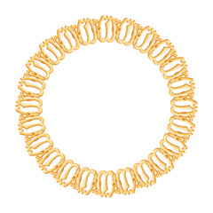 round frame on a white background - gold chain, religious symbol
