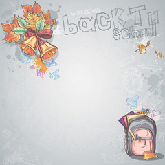 bells, autumn leaves and school backpack