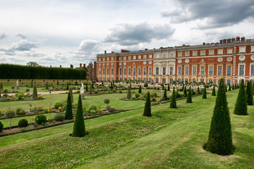 Privy Garden and Hampton Court Palace near London