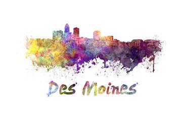 Des Moines skyline in watercolor
