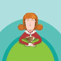 Illustration - Red hair girl in restaurant with a cup