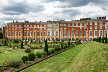 Picturesque view of Hampton Court Palace