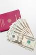 canvas print picture - Dollarscheine und Reisepaß
