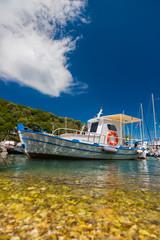 Fishing boat in the Harbor of Meganisi island in Lefkada