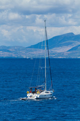 Sailing yacht in the Ionian sea