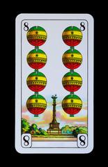 Spielkarten und Denkmäler  - Schellen Acht - Berlin Siegessäule
