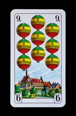 Spielkarten und Denkmäler  - Schellen Neun - Nürnberg
