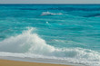 canvas print picture - Crashing waves in Lefkada