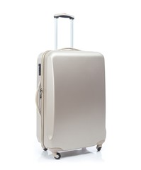 Big travel suitcase on wheels, isolated white