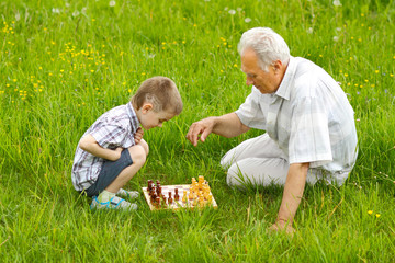 Grandfather and grandson playing chess on the grass
