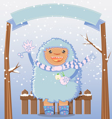 Happy yeti winter holiday card