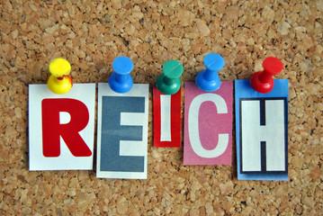 Pinnwand Slogan Reich