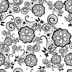 Seamless lace flowers pattern