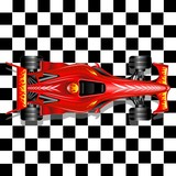 Formula 1 Red Race Car on Checkered Background