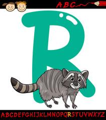 letter r for raccoon cartoon illustration