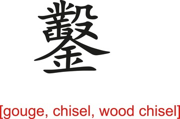 Chinese Sign for gouge, chisel, wood chisel