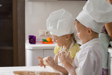Cute Kid Chefs Baking for Pizza