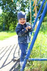 happy little boy walking