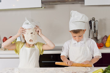 Little Young Kids Playing While Baking