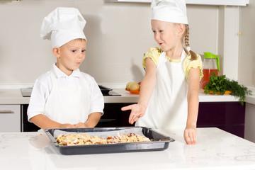 Cute Little Kids Bake Something to Eat