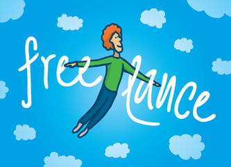 Happy freelance man flying