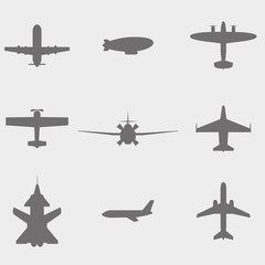 vector set  icons: dirigible,  plane, fighter plane and screw