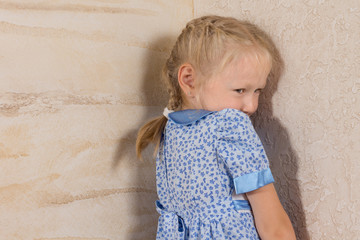 Cute Little Girl in Dress Isolated on Wooden Walls