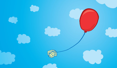 Brain floating tied to a balloon