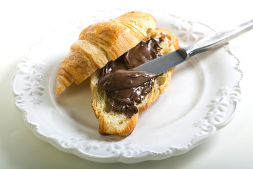Croissant with chocolate paste.