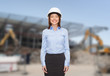businesswoman in white helmet
