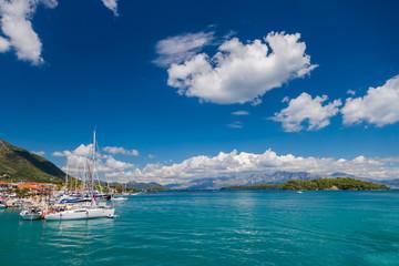 Harbor of Nidri on Lefkas Greece