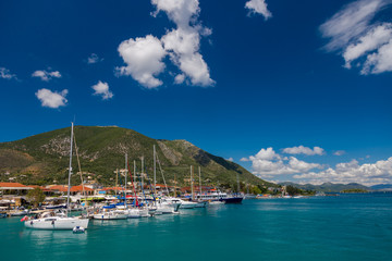 Harbor of Nidri on Lefkas Greece
