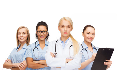 team or group of female doctors and nurses