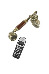 Handsets from retro phone and from a cordless phone