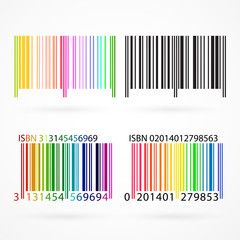 Black and colored barcode. Vector illustration.
