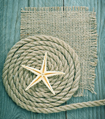 ship rope on wooden texture background
