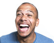 Portrait of a mixed race man laughing hysterically