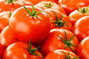 Fresh organic tomatoes on street stall