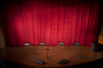 Stage theather with red curtain as a space for your text