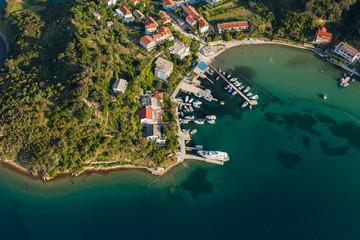 aerial view of croatia coast line