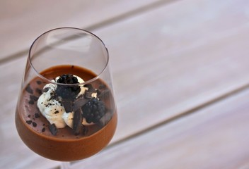 Chocolate Espresso Mousse with Blackberries