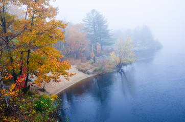 Foggy autumn day at a river in New England