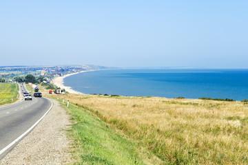 view of resort village Golubitskaya on Sea of Azov