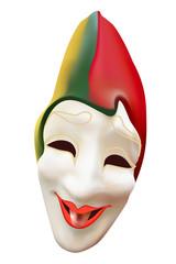 Carnival mask, joker. Isolated on white