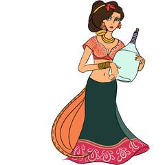 Индийская девушка с бутылкой вина