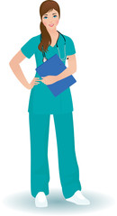 Doctor woman in a full length on a white background
