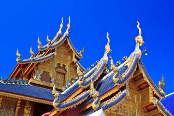 Church roof at Wat Ban Den in Maetang, Chiangmai of Thailand