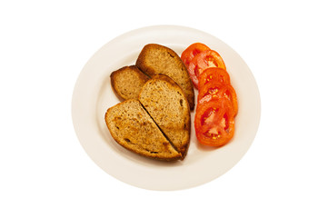 two heart-shaped toast and tomato