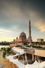 Sunset at Putra Mosque in Putrajaya