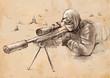 Sniper (Shooter) - Hand drawn vector